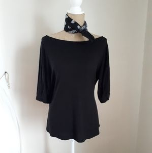 Casual 3/4 Sleeve Black Top